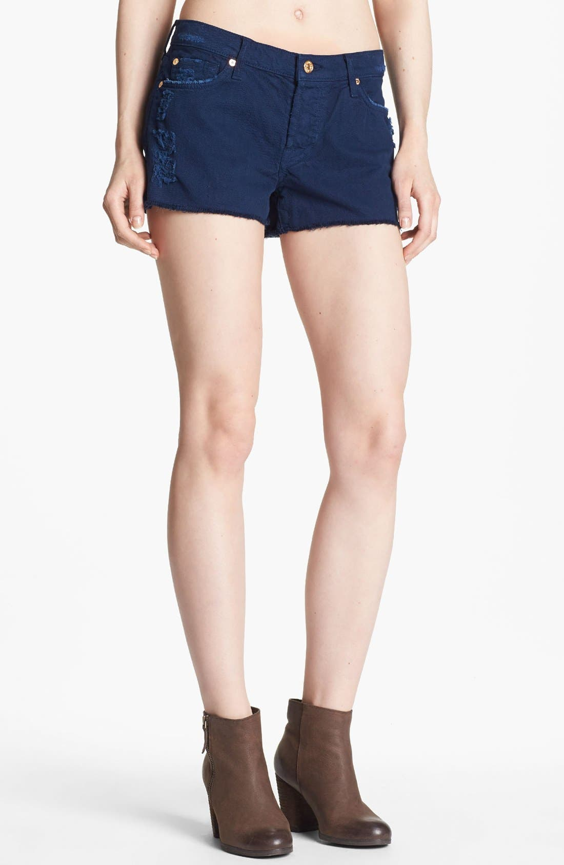 Main Image - 7 For All Mankind® Relaxed Cutoff Shorts (Navy)