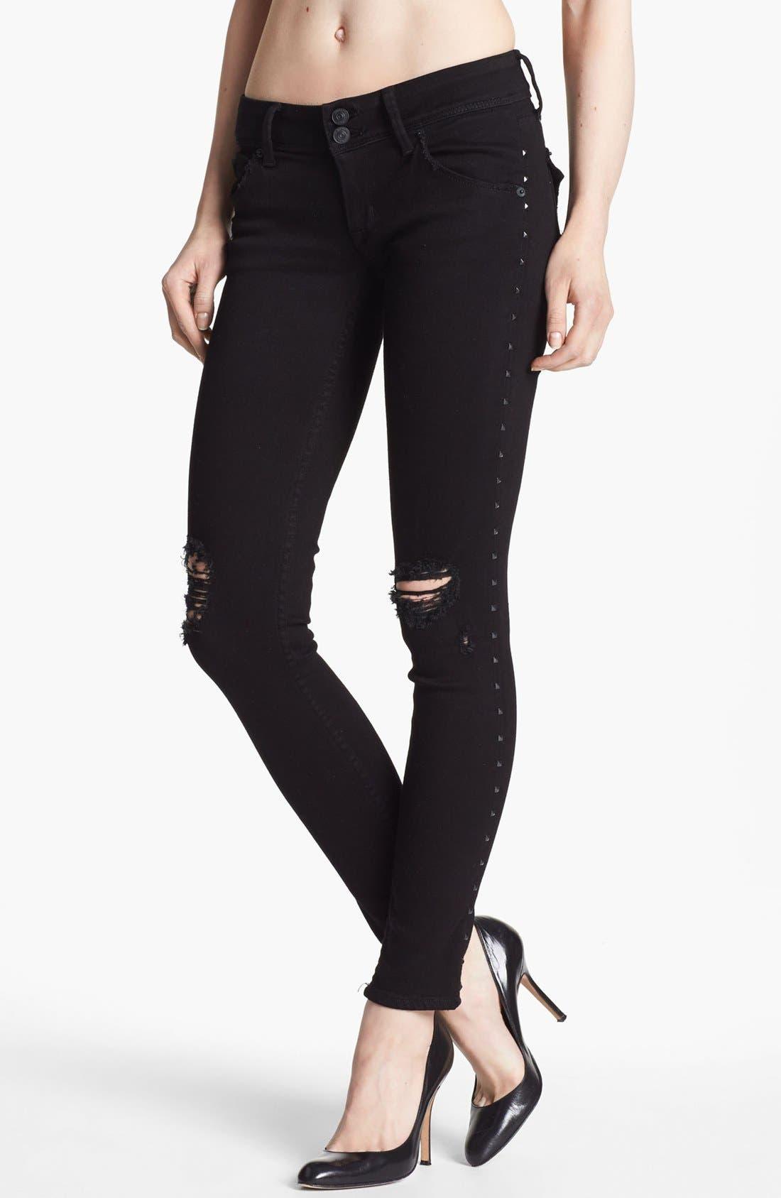 Main Image - Hudson Jeans 'Collin' Studded Destroyed Skinny Jeans (Vintage Vienna)
