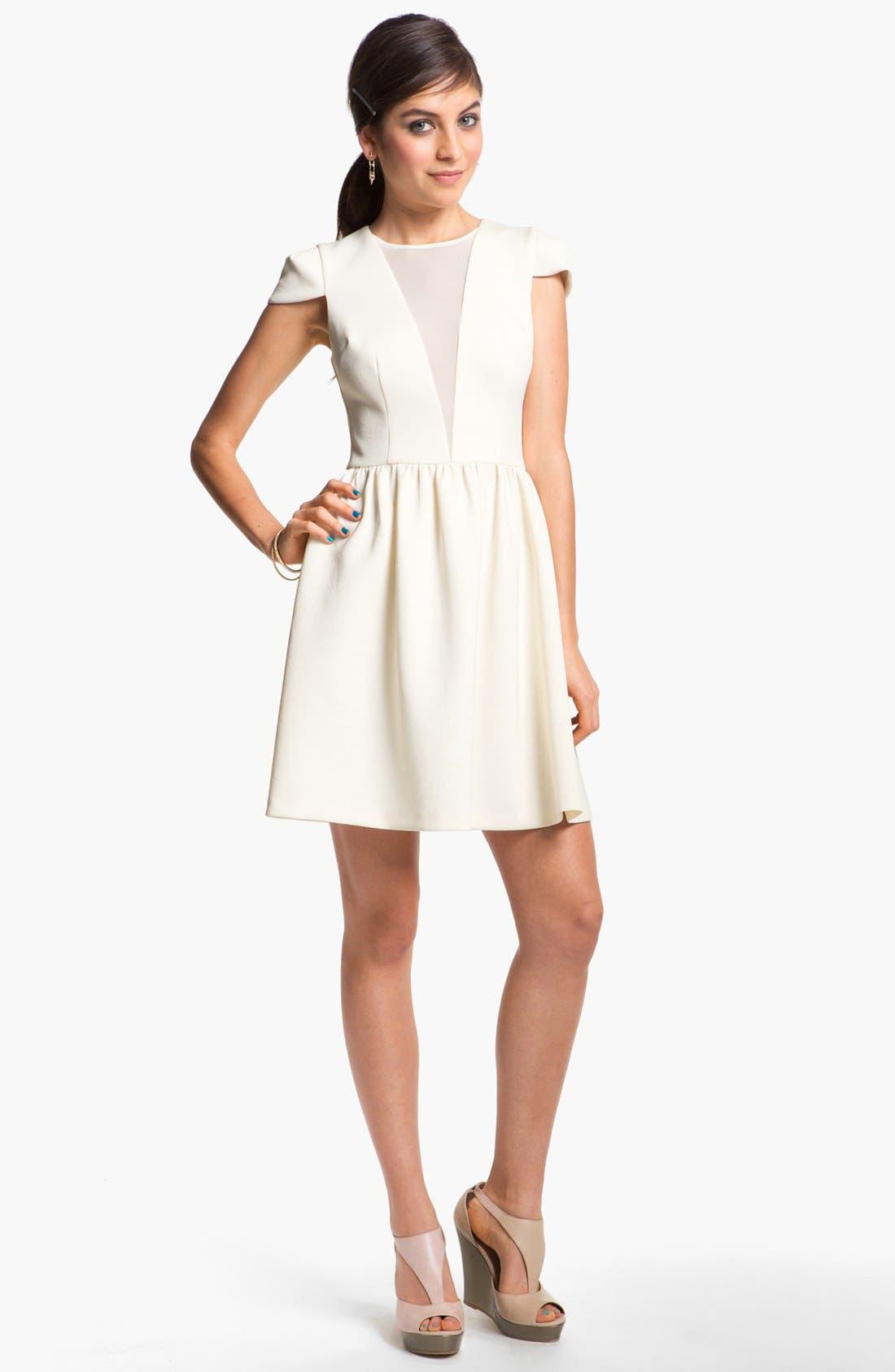 Alternate Image 1 Selected - En Crème Cap Sleeve Skater Dress (Juniors)