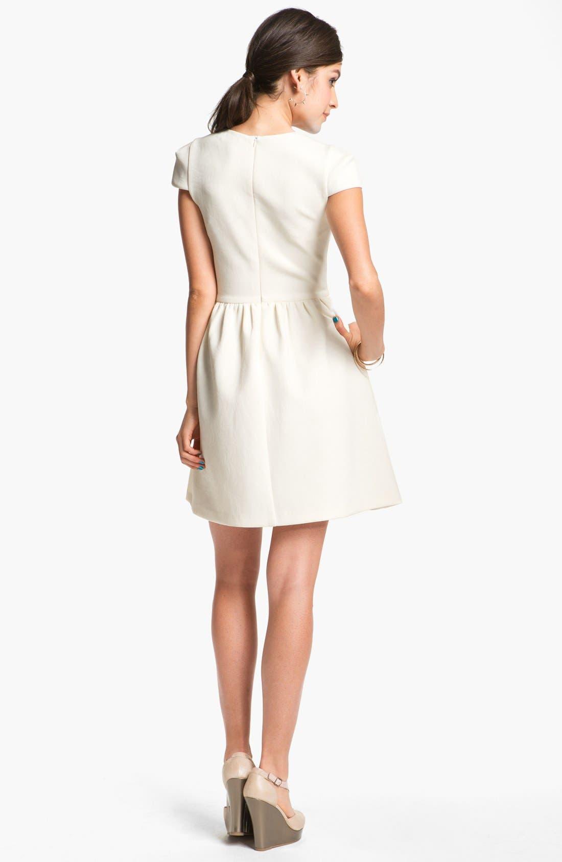 Alternate Image 2  - En Crème Cap Sleeve Skater Dress (Juniors)