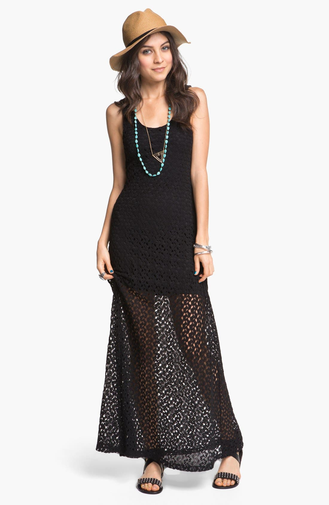 Main Image - Mimi Chica Half Sheer Crochet Maxi Dress (Juniors)