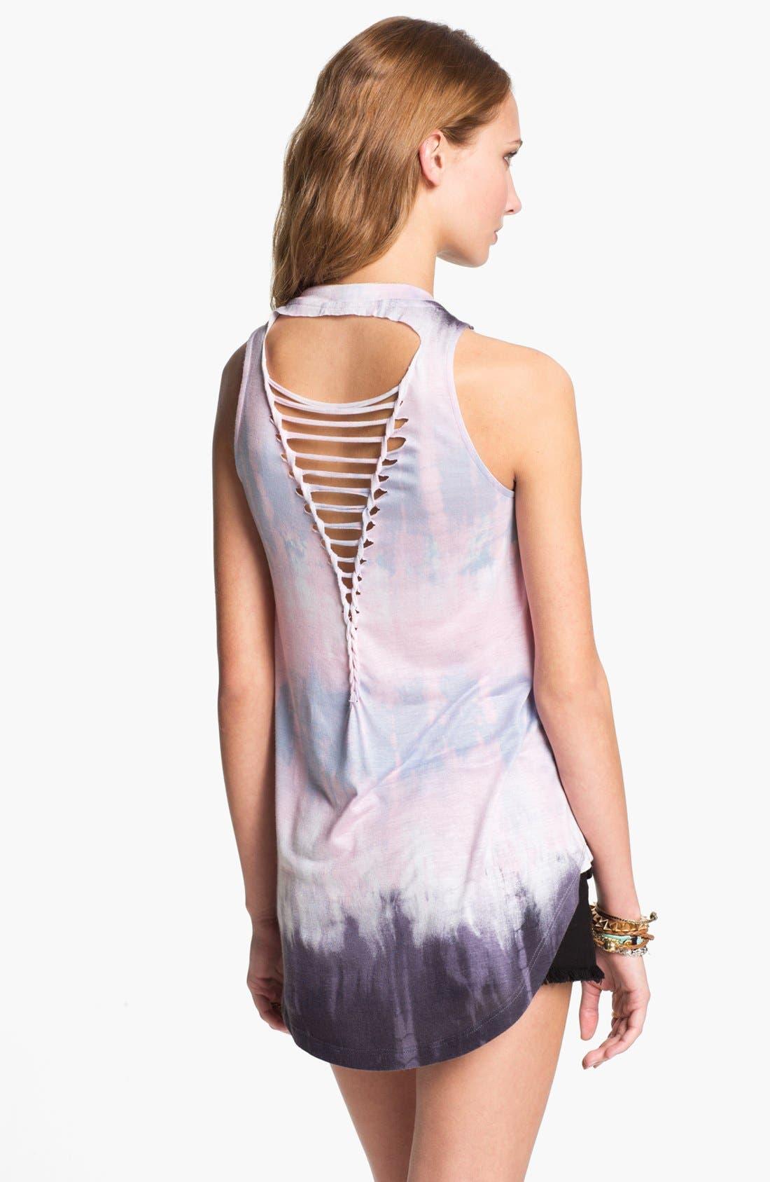 Alternate Image 2  - Robin K Shredded Tie Dye Tank (Juniors)