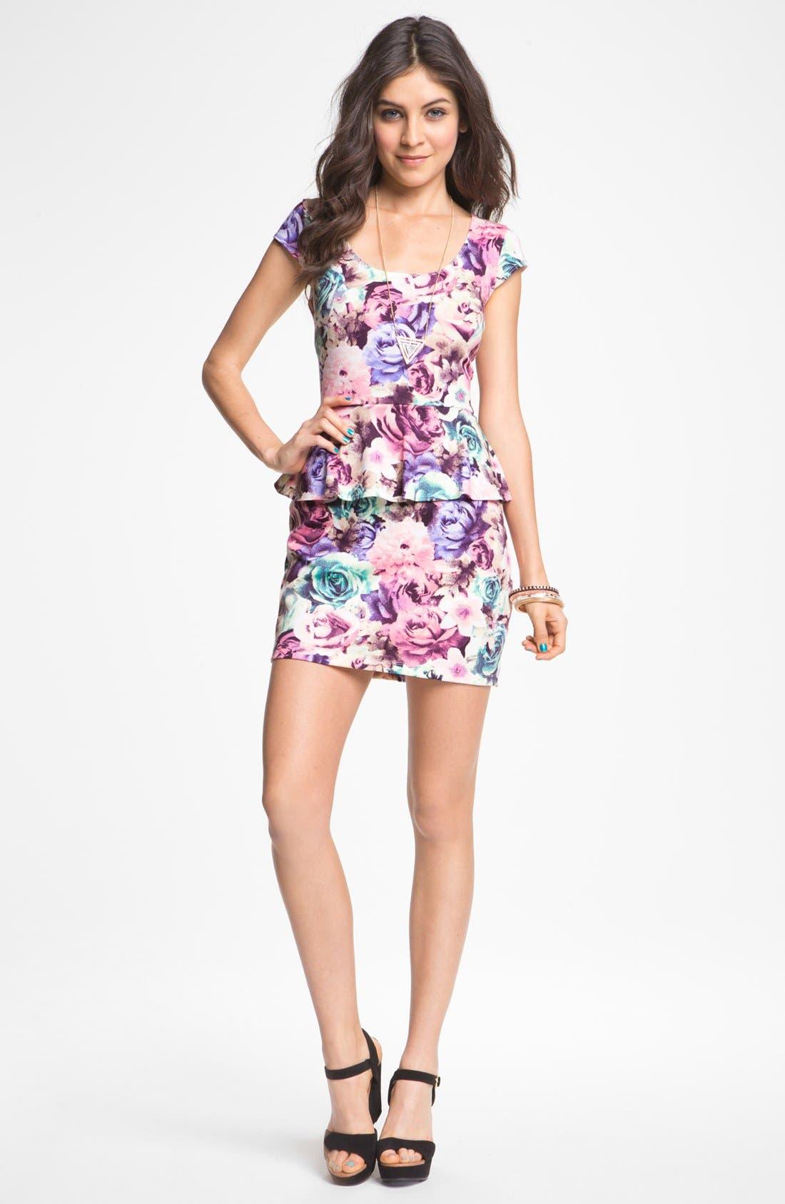 Alternate Image 1 Selected - As U Wish Floral Print Peplum Dress (Juniors)