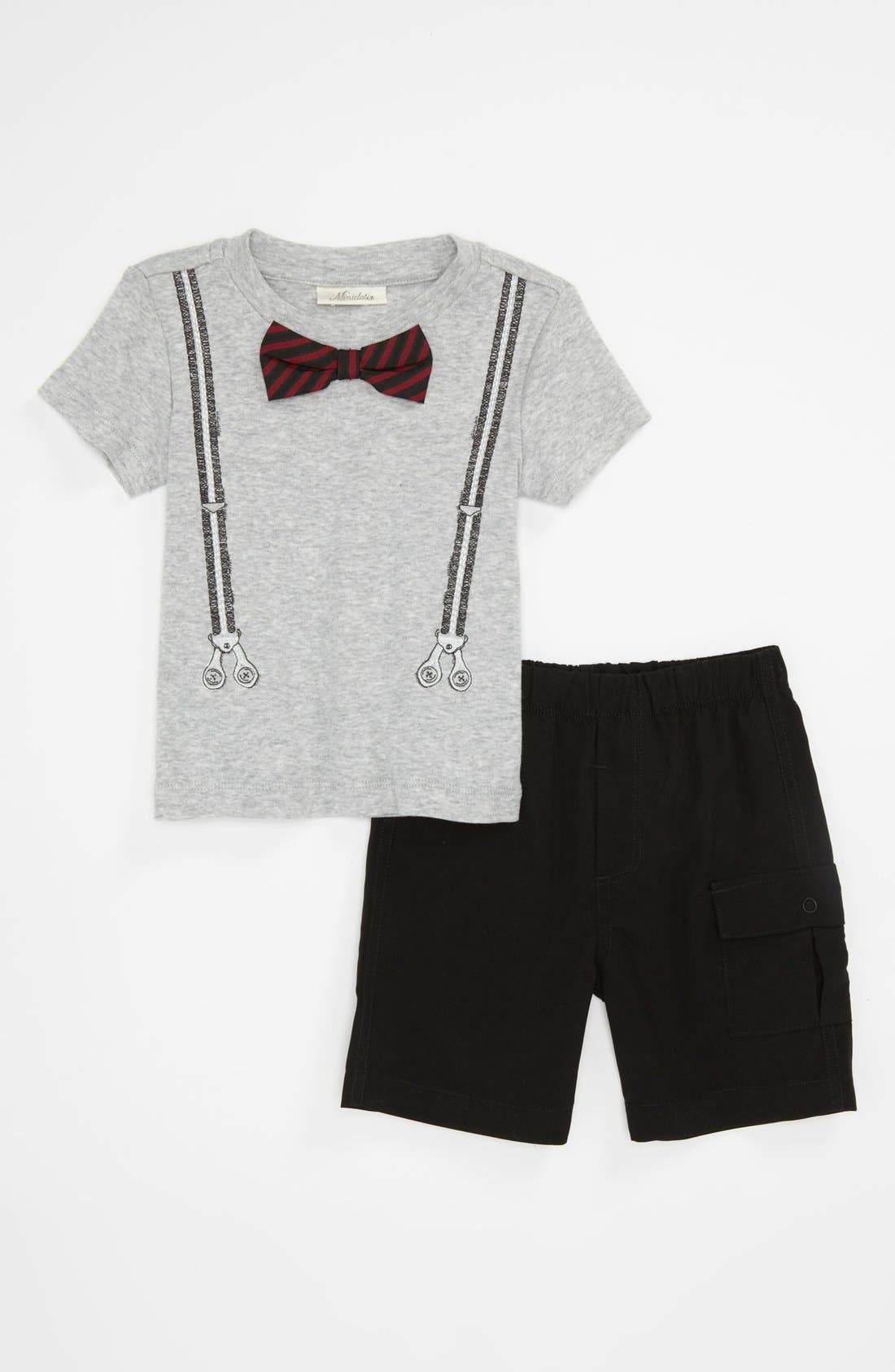 Alternate Image 1 Selected - Miniclasix Bow Tie T-Shirt & Pants (Baby)