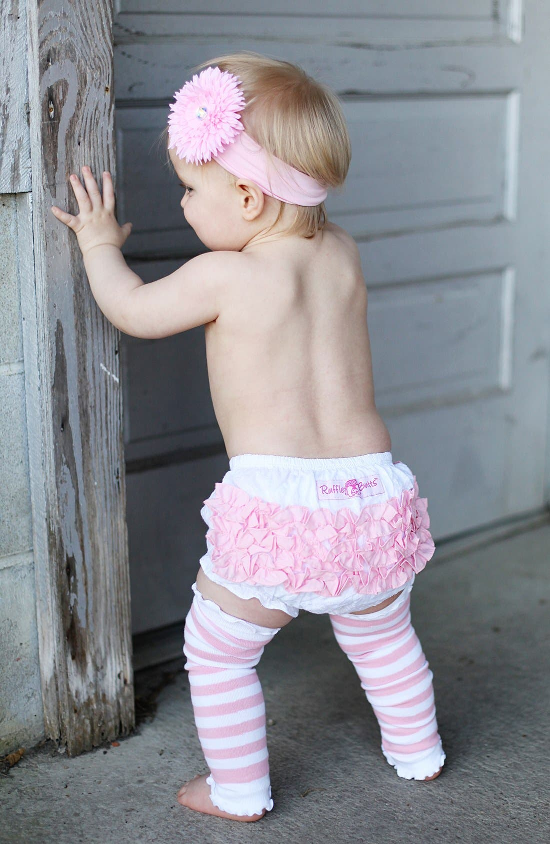 Alternate Image 2  - RuffleButts 'Pink & White' Headband, Bloomers & Leg Warmers (Baby)
