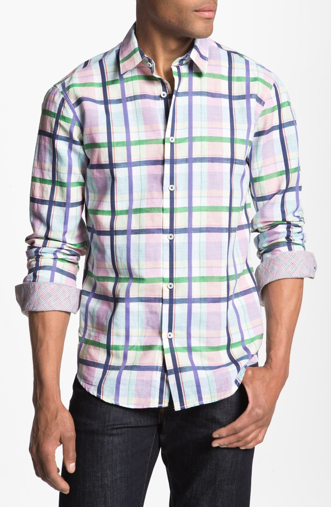Main Image - Bugatchi Check Shaped Fit Linen Blend Sport Shirt