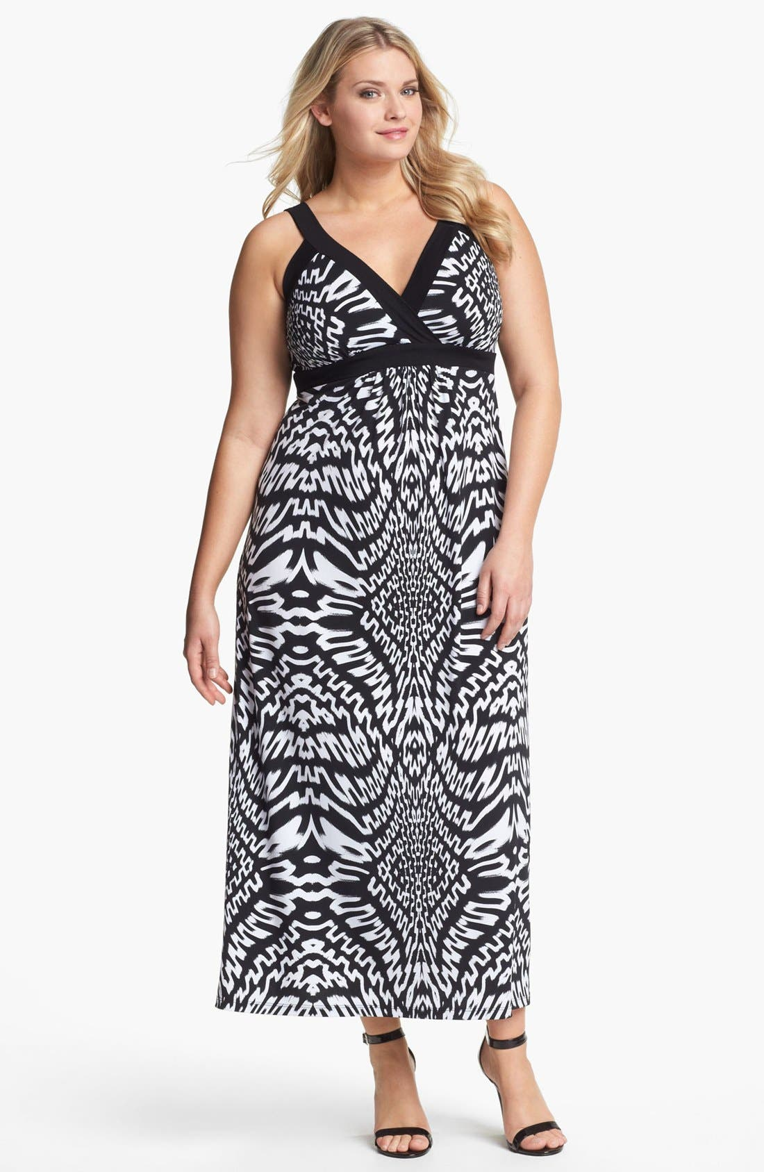 Alternate Image 1 Selected - Karen Kane Sleeveless Print Maxi Dress (Plus Size)