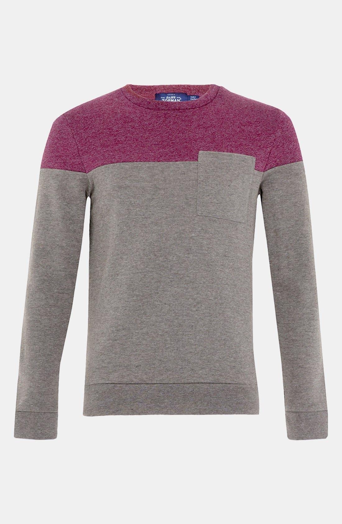 Alternate Image 1 Selected - Topman Cut & Sew Crewneck Sweatshirt