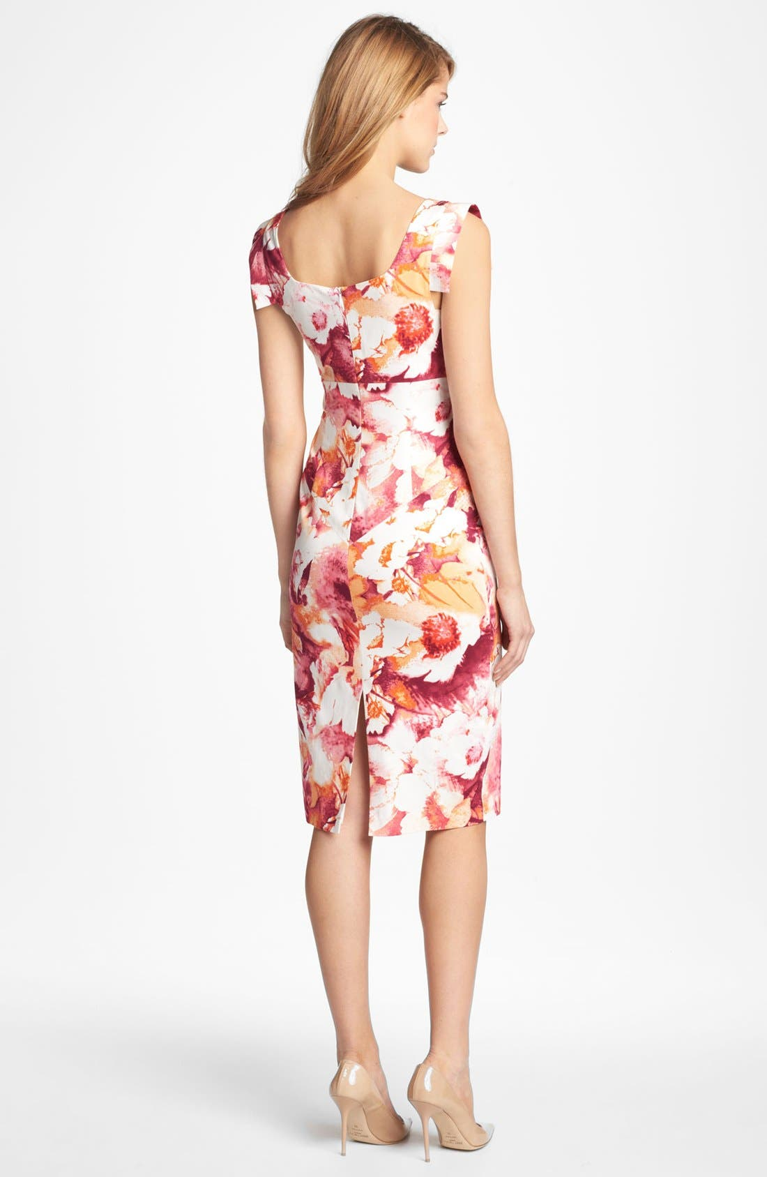 Alternate Image 2  - Black Halo Tab Sleeve Print Sheath Dress