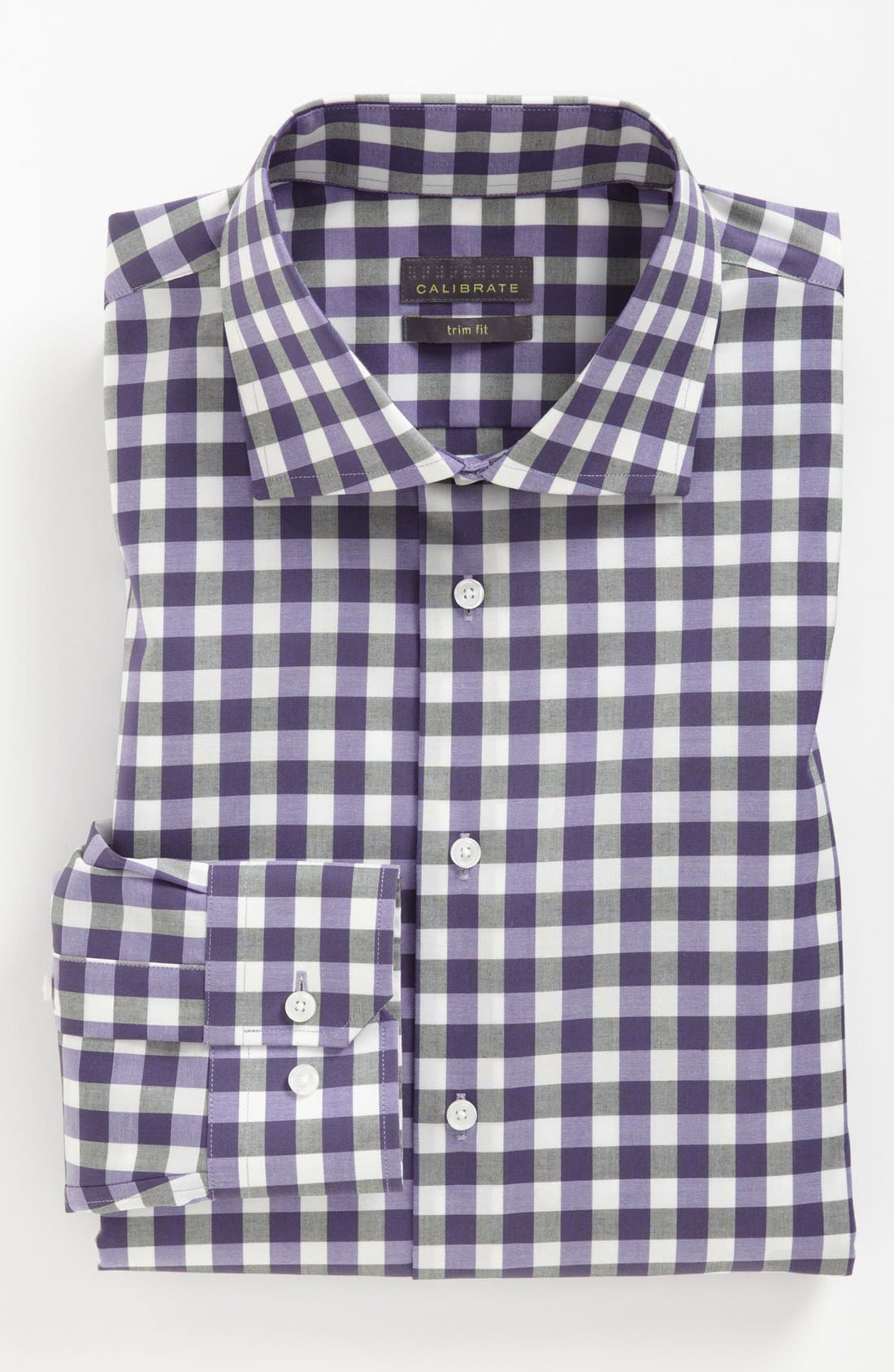 Main Image - Calibrate Trim Fit Non-Iron Gingham Dress Shirt