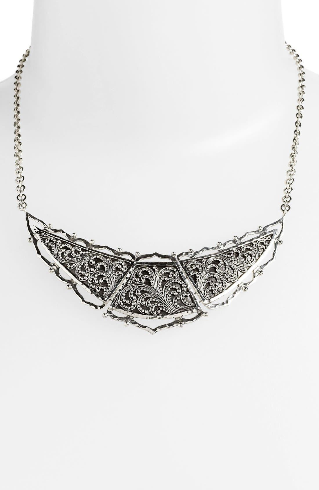 Main Image - Lois Hill Large Granulated Shield Collar Necklace