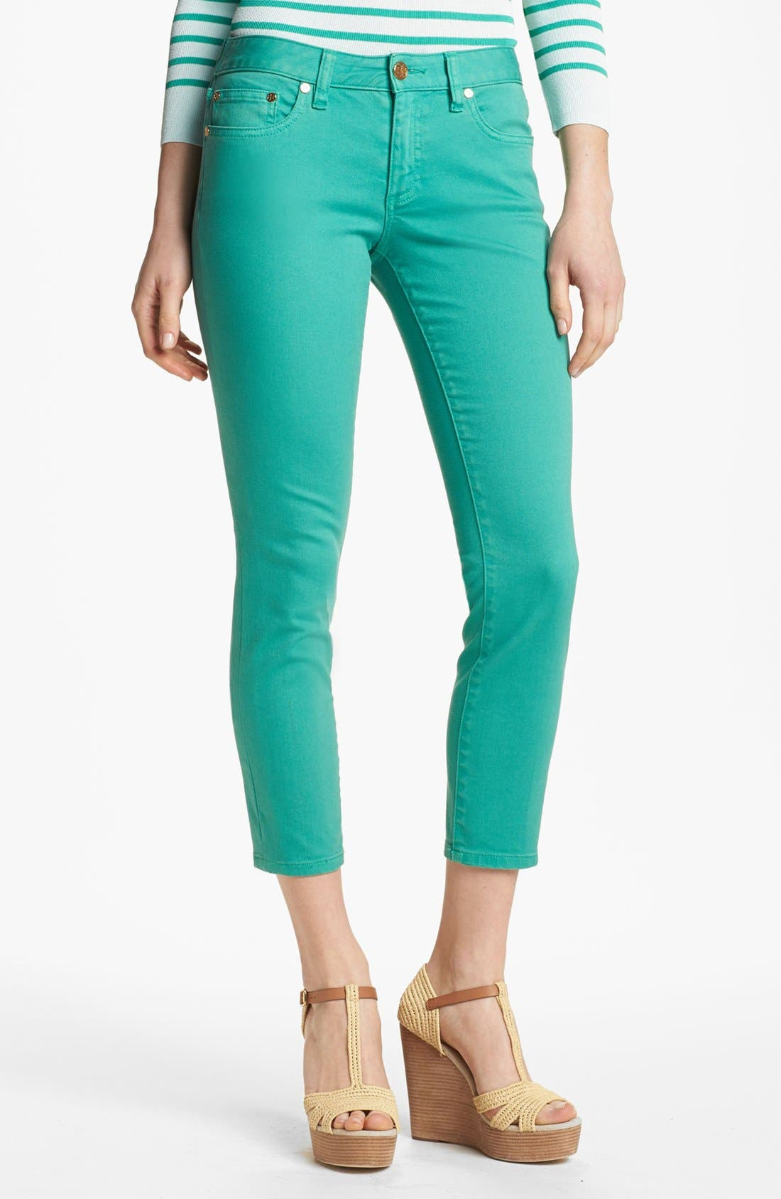 Main Image - Tory Burch 'Alexa' Skinny Crop Stretch Jeans (Viridian Green)