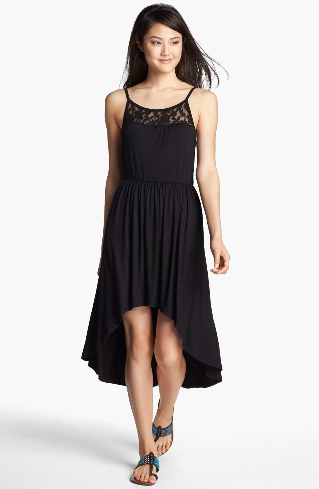 Main Image - Loveappella Lace Yoke Dress (Petite)