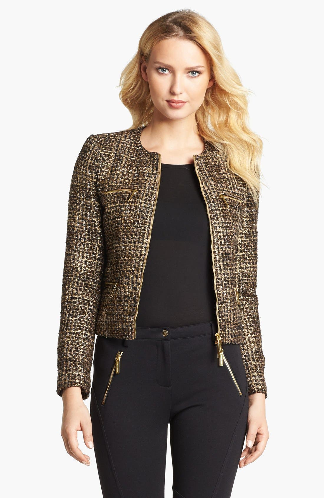 Alternate Image 1 Selected - MICHAEL Michael Kors Plaid Tweed Jacket
