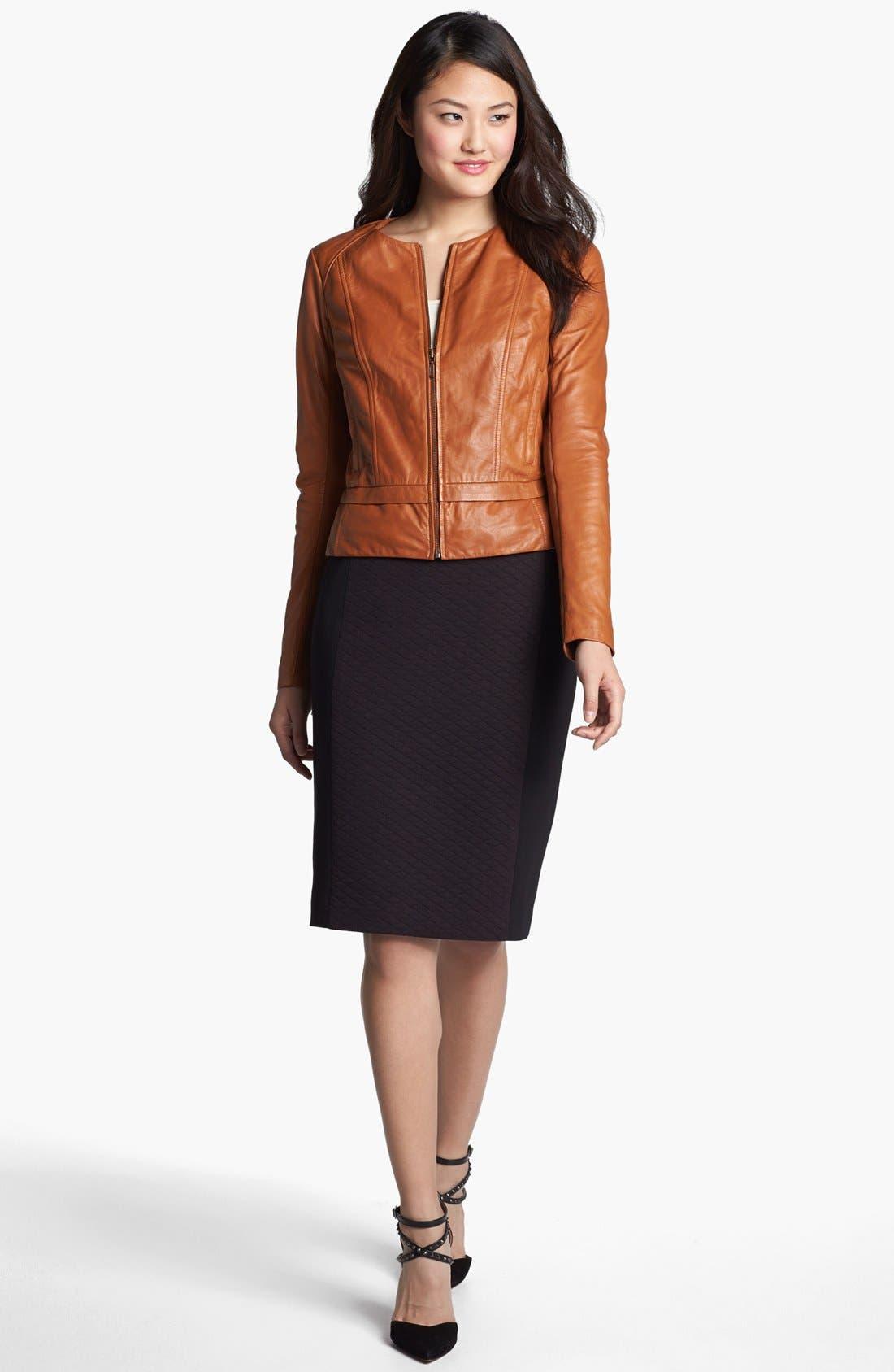 Alternate Image 2  - Halogen® Quilted Front Ponte Knit Pencil Skirt