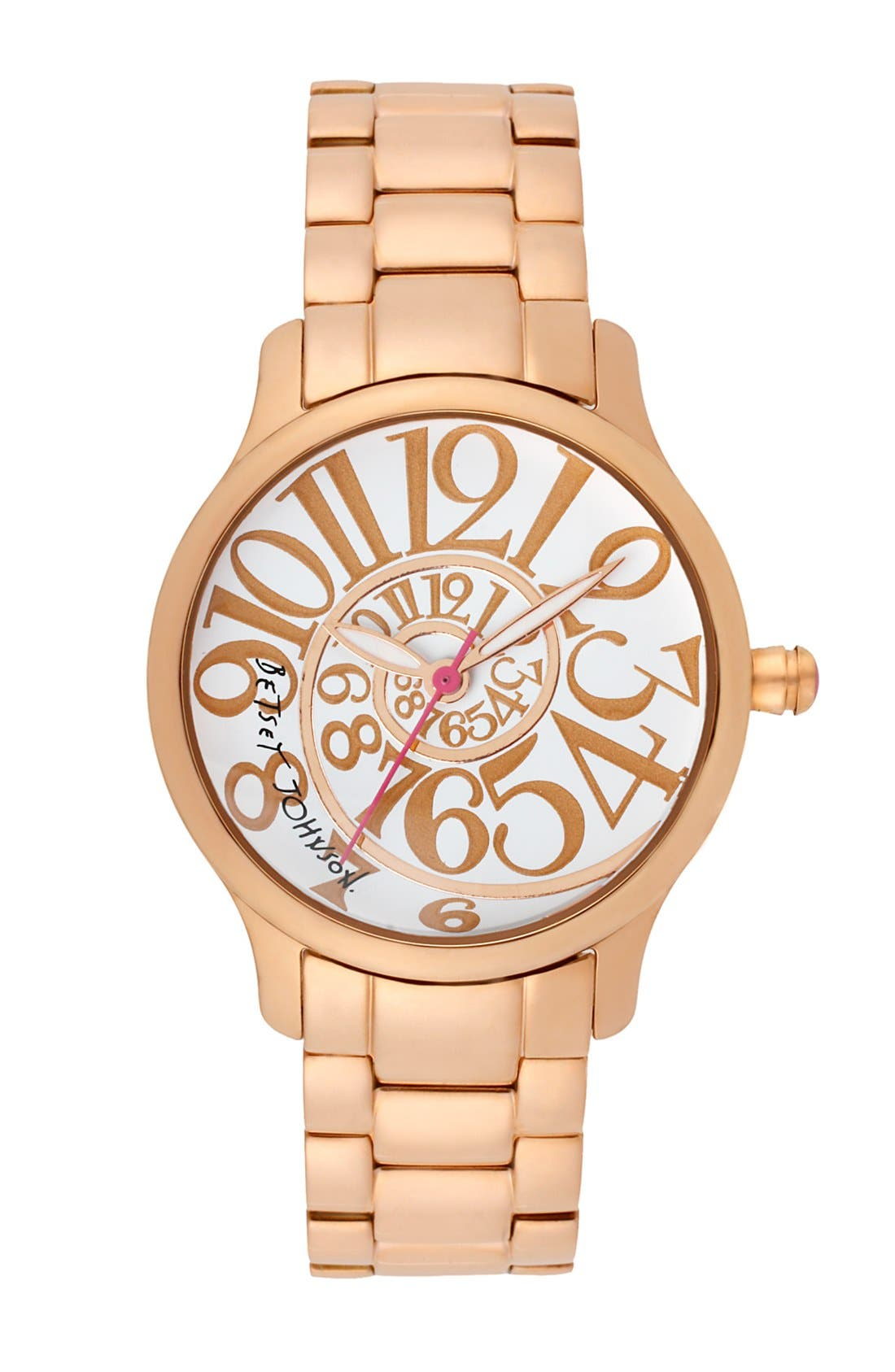Main Image - Betsey Johnson Swirl Dial Bracelet Watch, 33mm