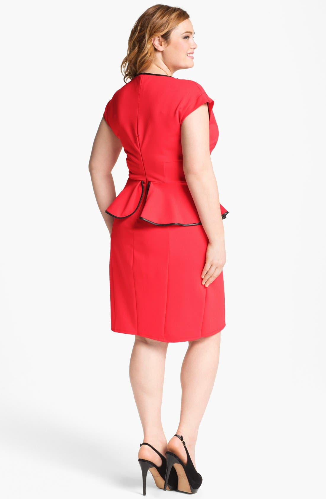 Alternate Image 2  - ABS by Allen Schwartz Leather Trim Peplum Dress (Plus Size)