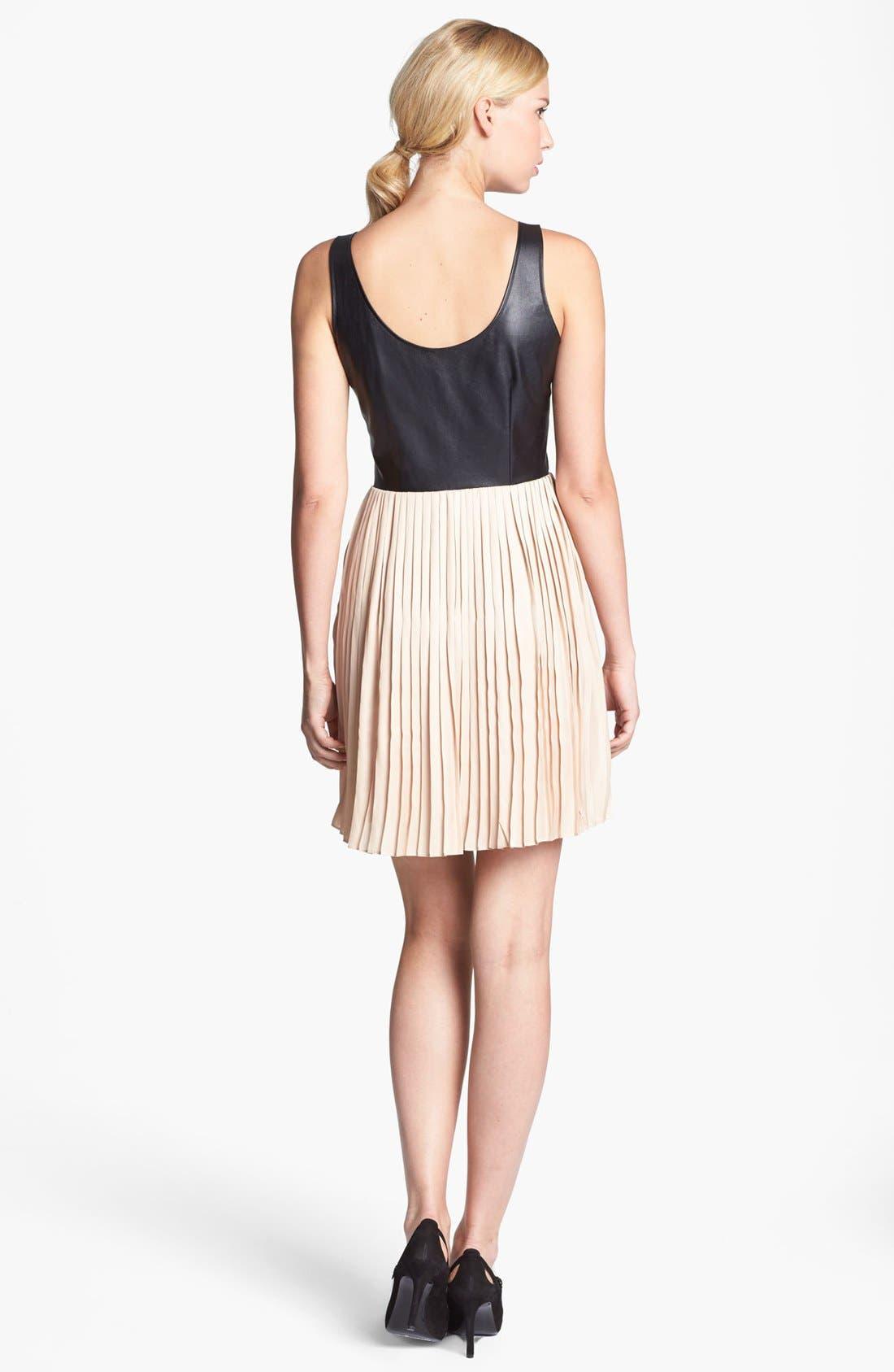 Alternate Image 3  - BB Dakota Faux Leather Bodice & Pleated Skirt Dress (Online Only)