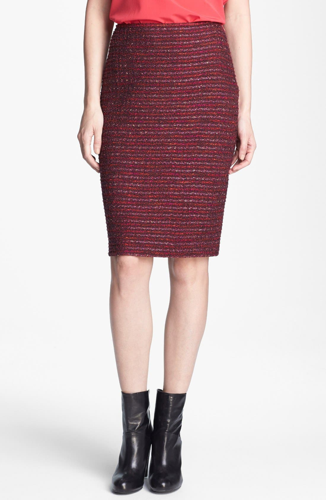 Alternate Image 1 Selected - St. John Collection Organza Ribbon Tweed Knit Pencil Skirt