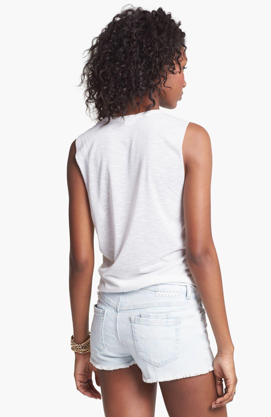 Alternate Image 2  - Jolt High Waist Denim Shorts (Juniors)