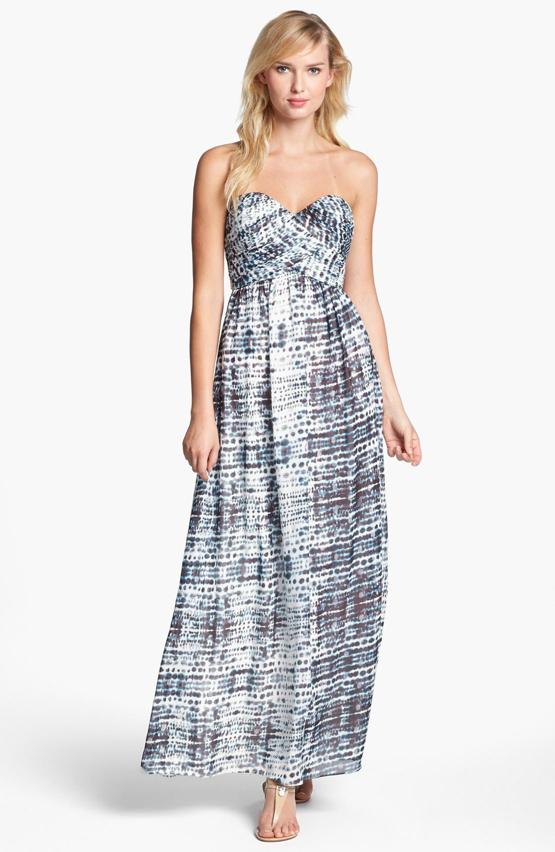 Alternate Image 1 Selected - Calvin Klein Strapless Print Gown