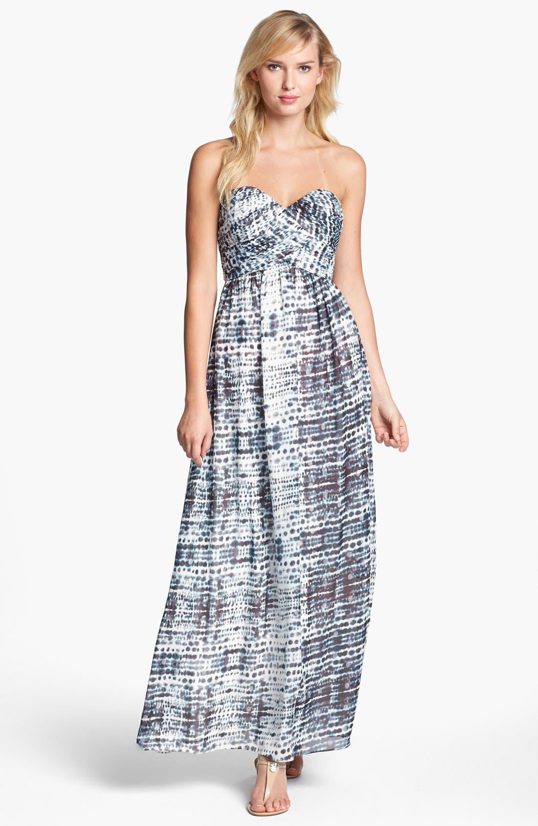 Main Image - Calvin Klein Strapless Print Gown