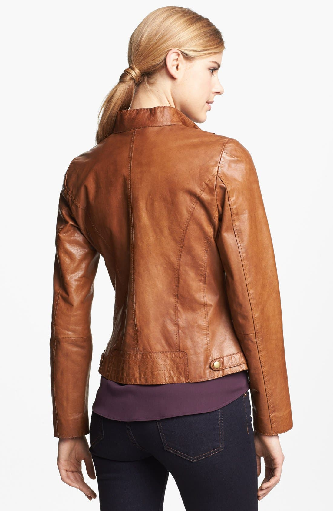 Alternate Image 2  - Marc New York by Andrew Marc Distressed Leather Jacket (Regular & Petite)