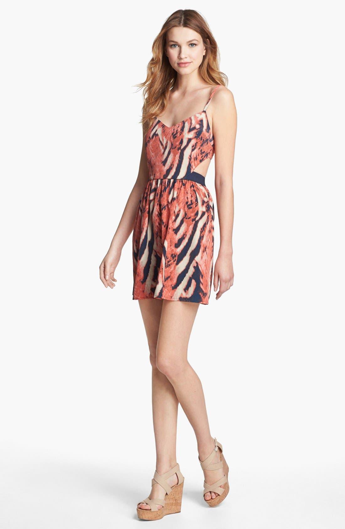 Alternate Image 1 Selected - BB Dakota 'Bengal' Print Cutout Back Dress