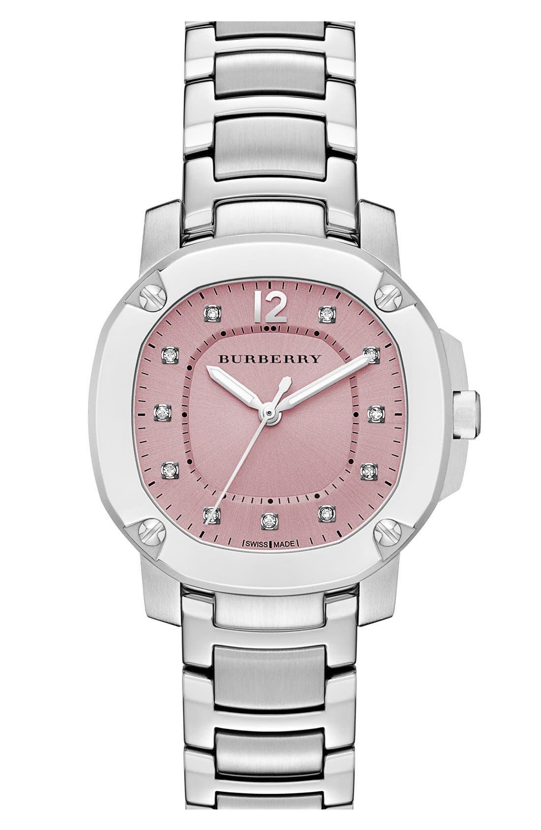 Main Image - Burberry The Britain Diamond Dial Bracelet Watch, 34mm