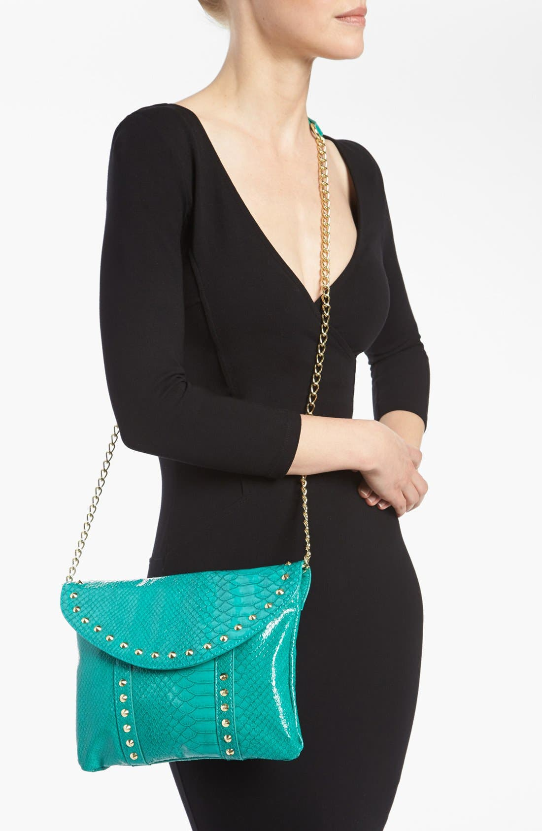 Alternate Image 2  - Steven by Steve Madden Snake Embossed Faux Leather Crossbody Clutch
