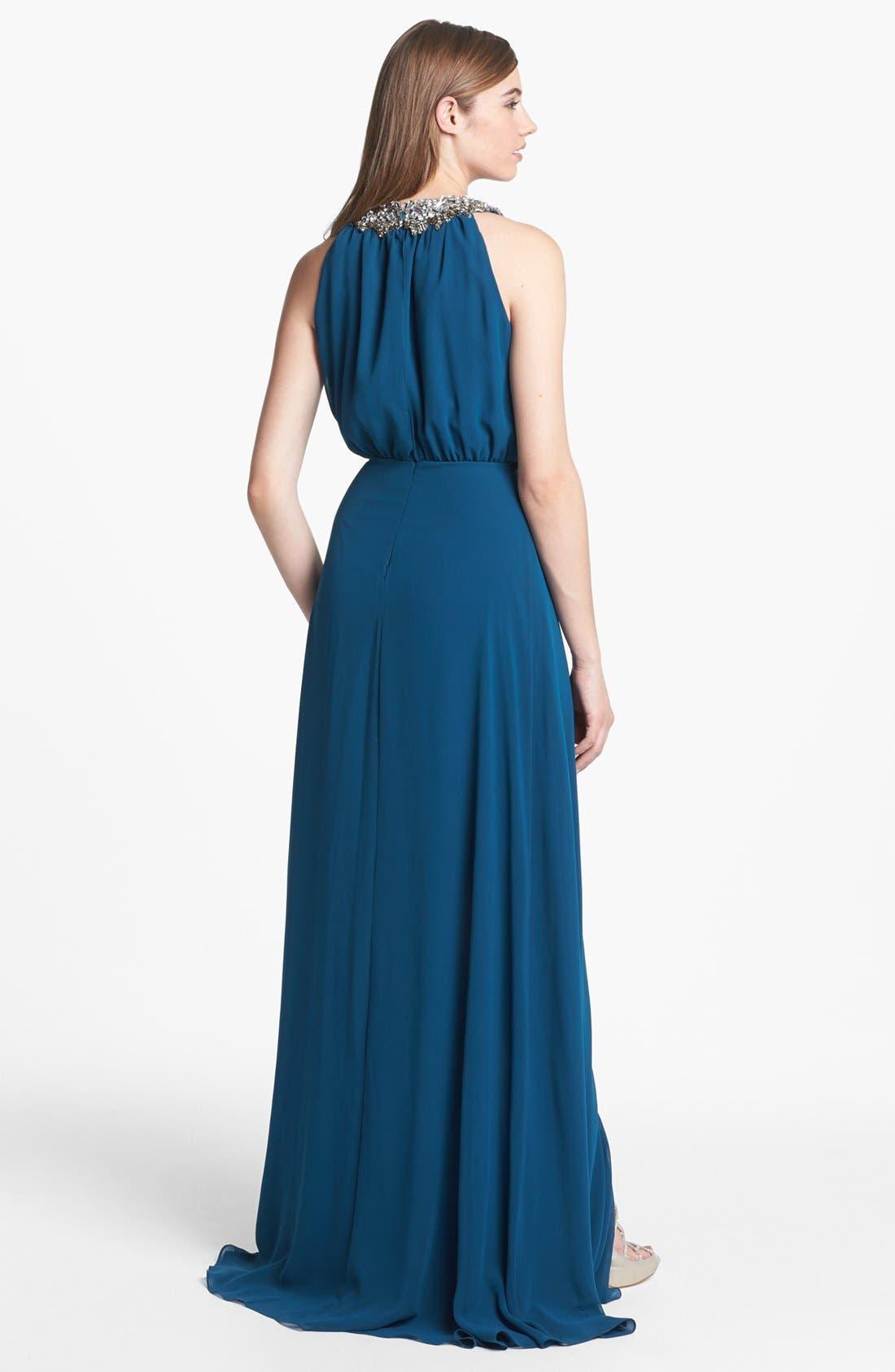 Alternate Image 2  - ERIN erin fetherston Embellished Faux Wrap Chiffon Gown