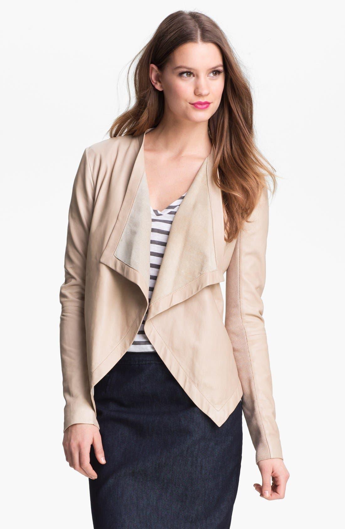 Main Image - Halogen® 'Waterfall' Leather Jacket (Petite)