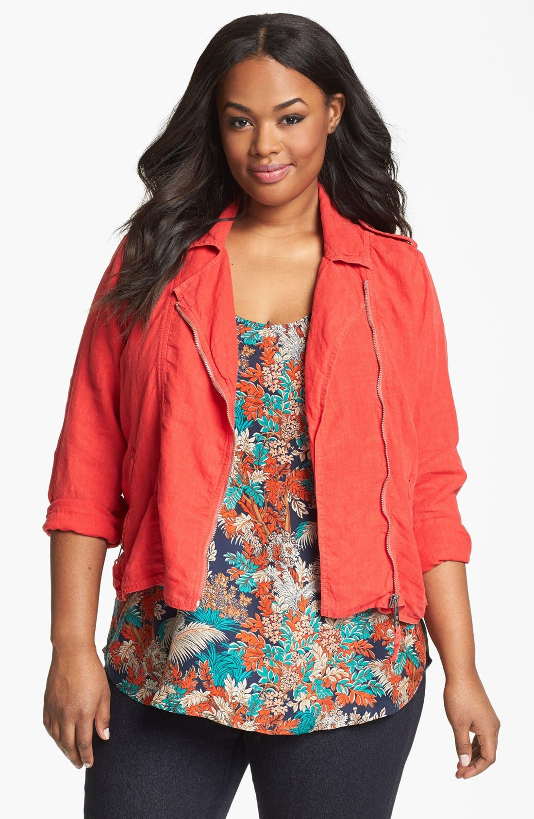 Alternate Image 1 Selected - Lucky Brand Moto Jacket (Plus Size)