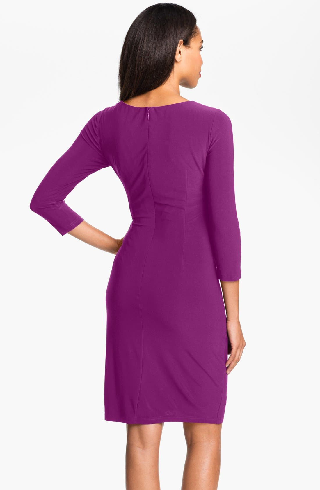 Alternate Image 2  - Adrianna Papell Asymmetrically Ruched Jersey Dress (Petite)