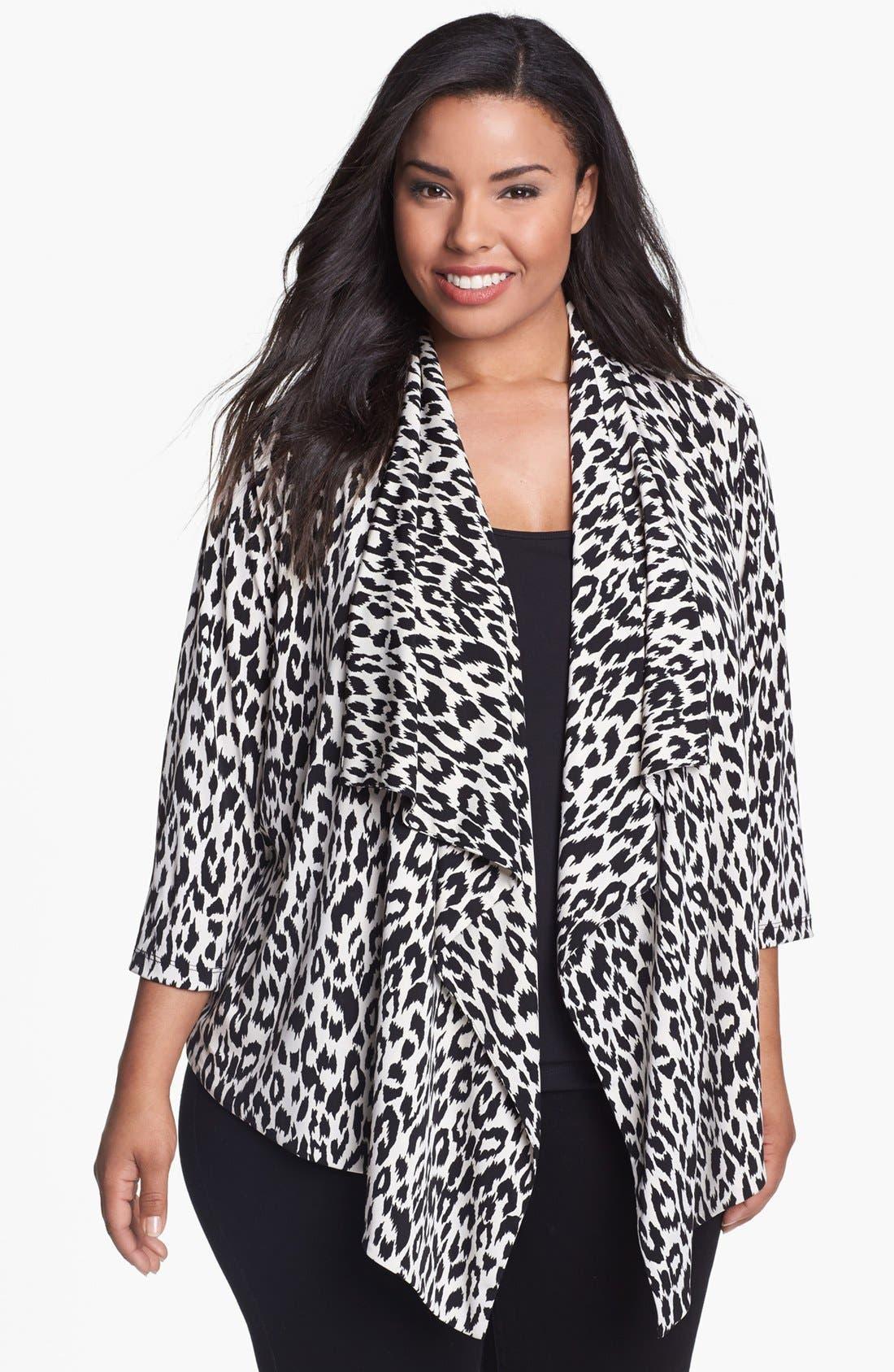 Alternate Image 1 Selected - Karen Kane Leopard Print Drape Jacket (Plus Size)