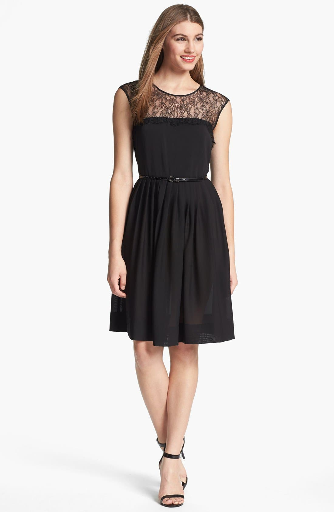 Alternate Image 1 Selected - Calvin Klein Lace Fit & Flare Dress