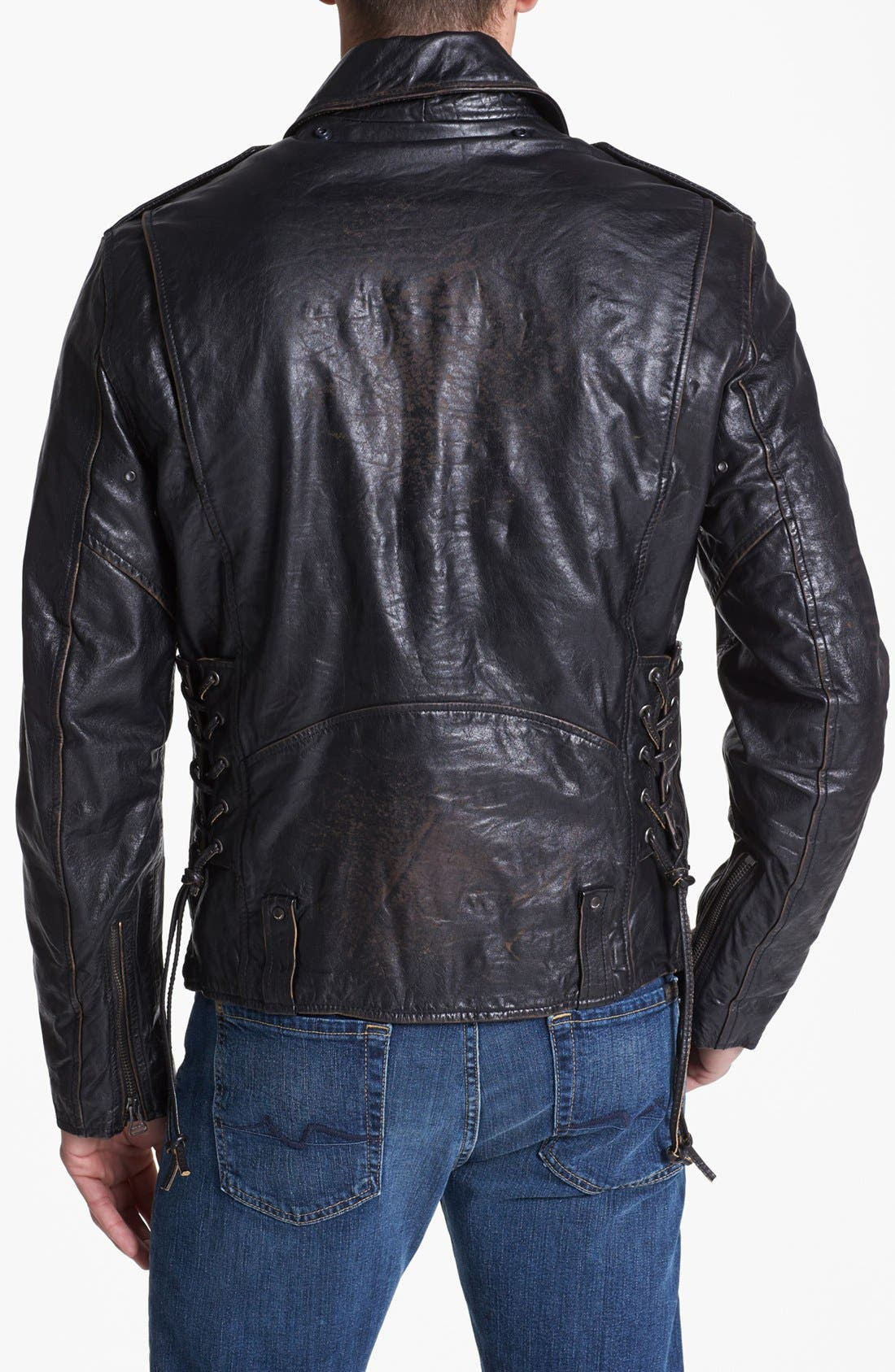 Alternate Image 2  - Denim & Leathers by Andrew Marc Leather Moto Jacket