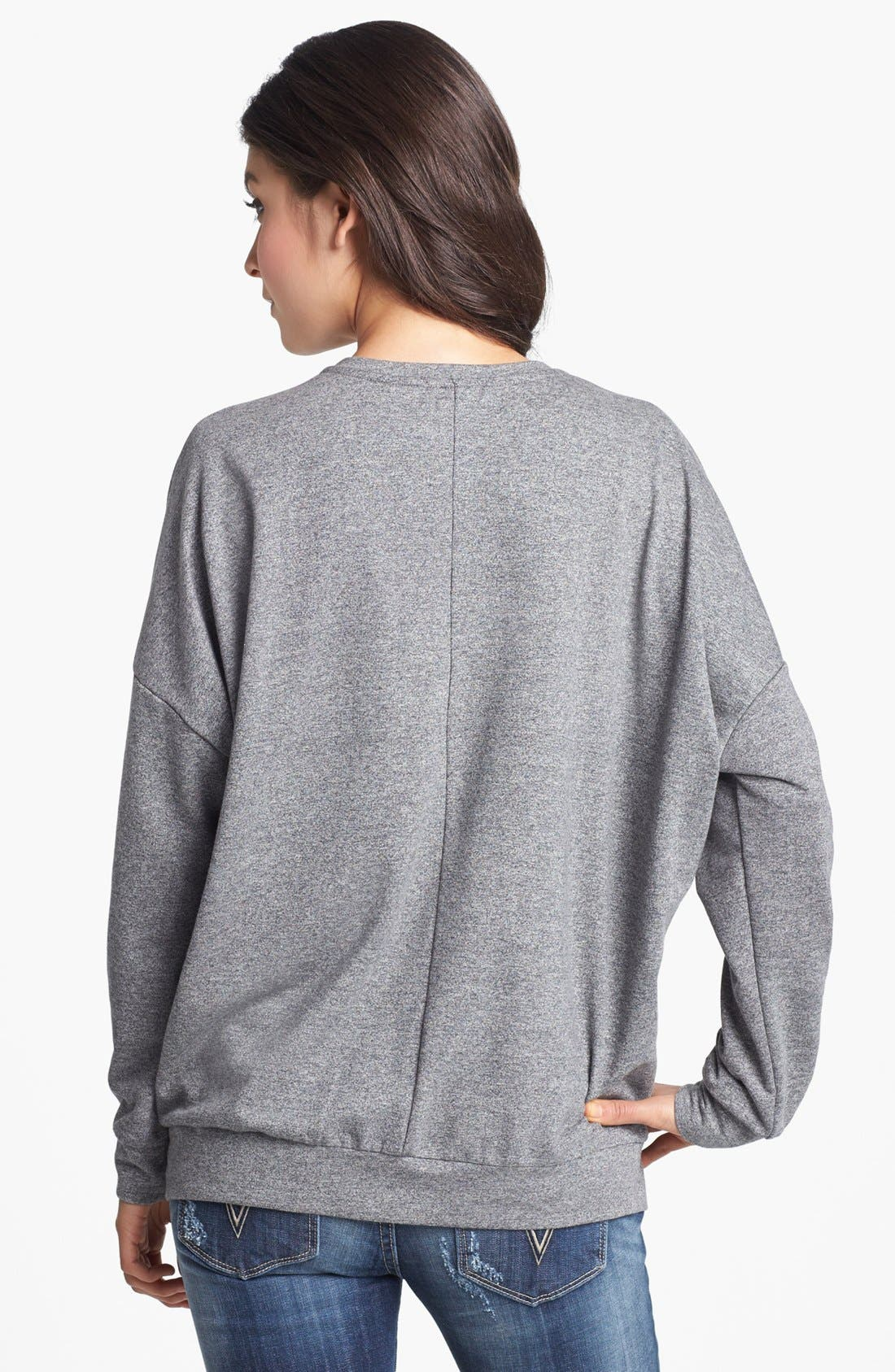 Alternate Image 2  - Chloe K Side Zip Sweatshirt (Juniors)