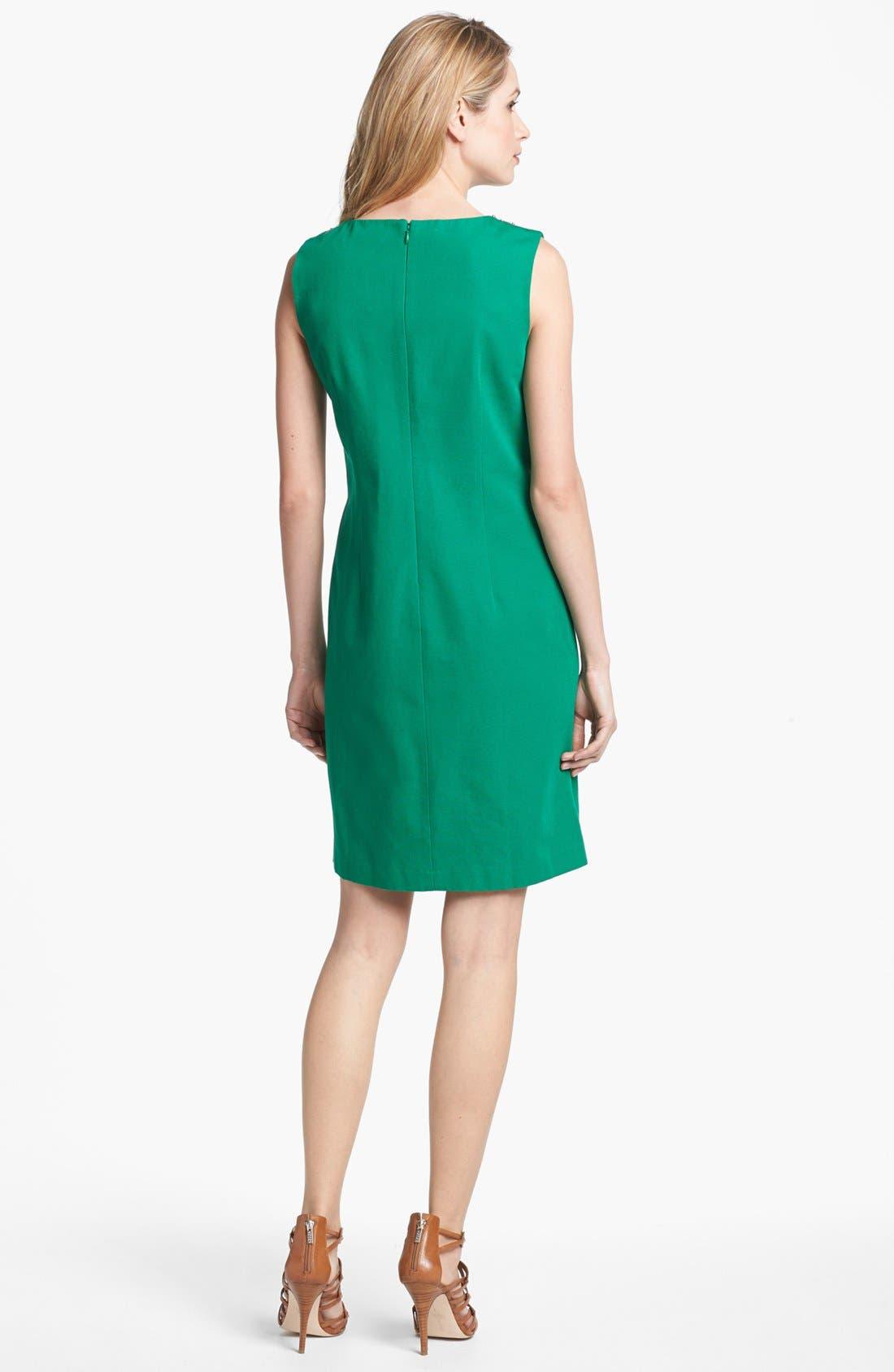 Alternate Image 2  - Ellen Tracy Embellished Cotton Sheath Dress
