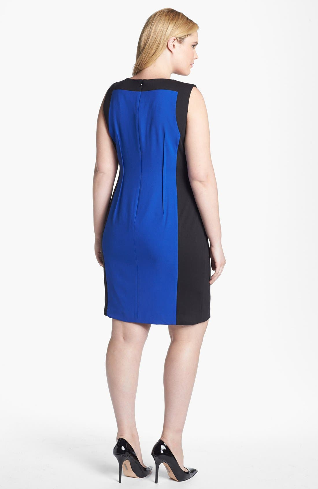 Alternate Image 2  - Calvin Klein Sleeveless Colorblock Dress (Plus Size)
