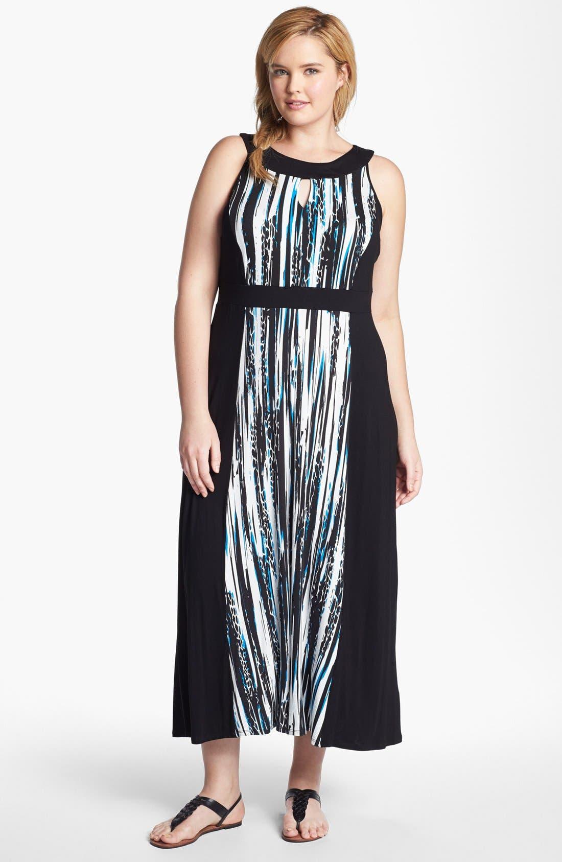Main Image - Evans 'Graphics Clash' Jersey Maxi Dress (Plus Size)