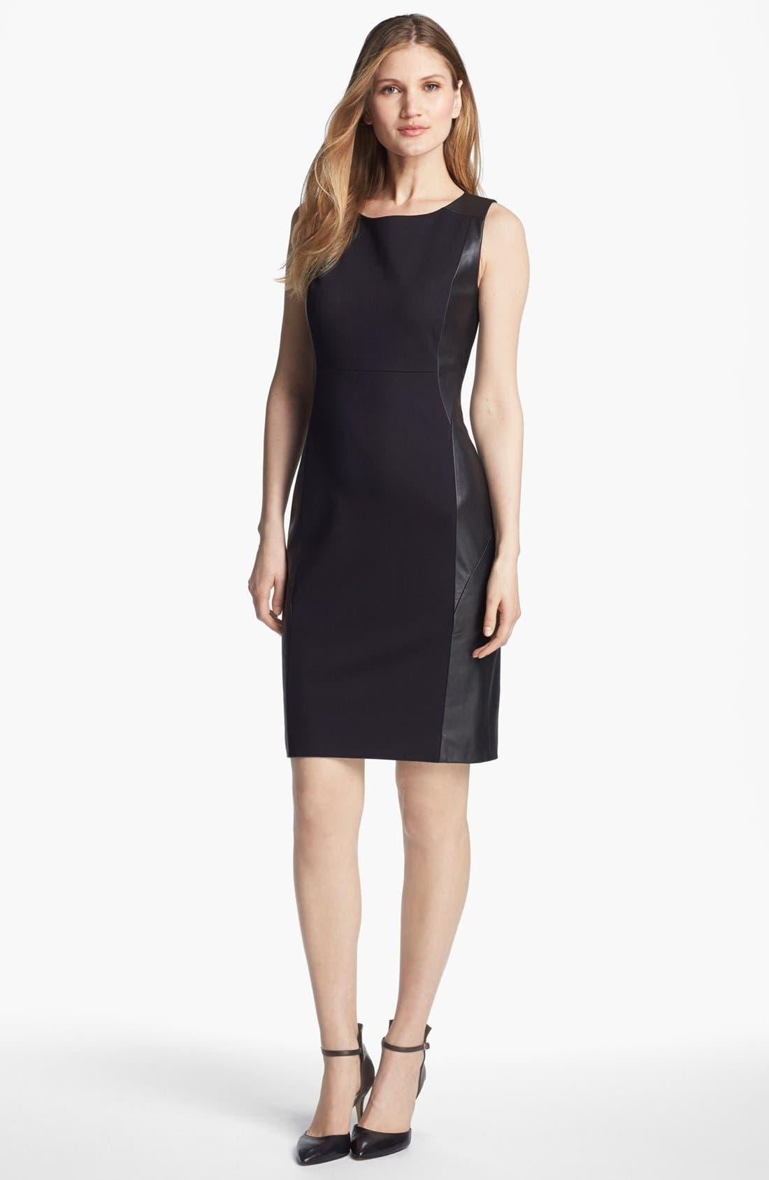 Alternate Image 1 Selected - Classiques Entier® Ponte & Leather Dress
