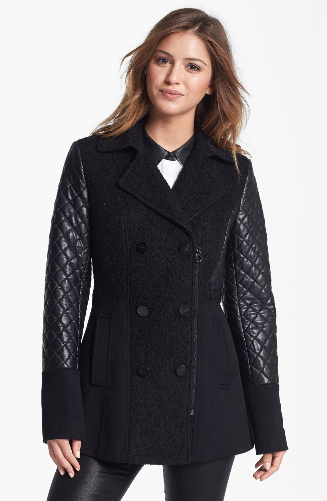 Alternate Image 4  - Laundry by Shelli Segal Quilted Sleeve Mixed Media Peacoat