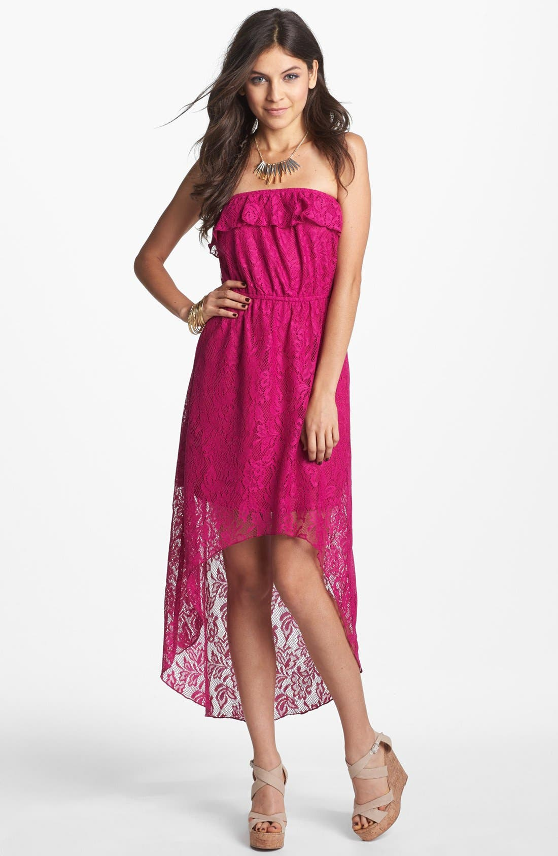 Alternate Image 1 Selected - Trixxi Lace Strapless High/Low Dress (Juniors) (Online Only)