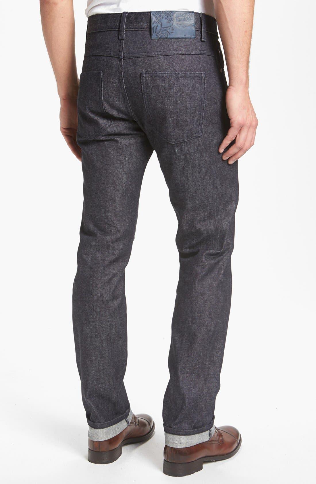 Main Image - Naked & Famous Denim 'Slim Guy' Straight Leg Raw Jeans (Natural Denim) (Online Only)