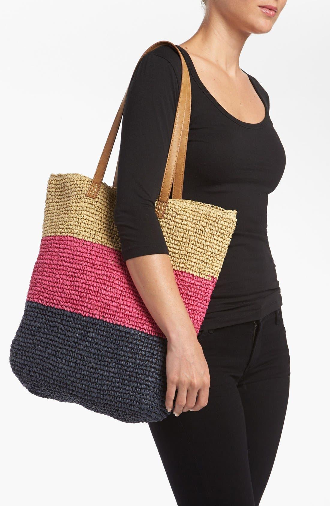 Alternate Image 2  - Straw Studios Crochet Stripe Tote