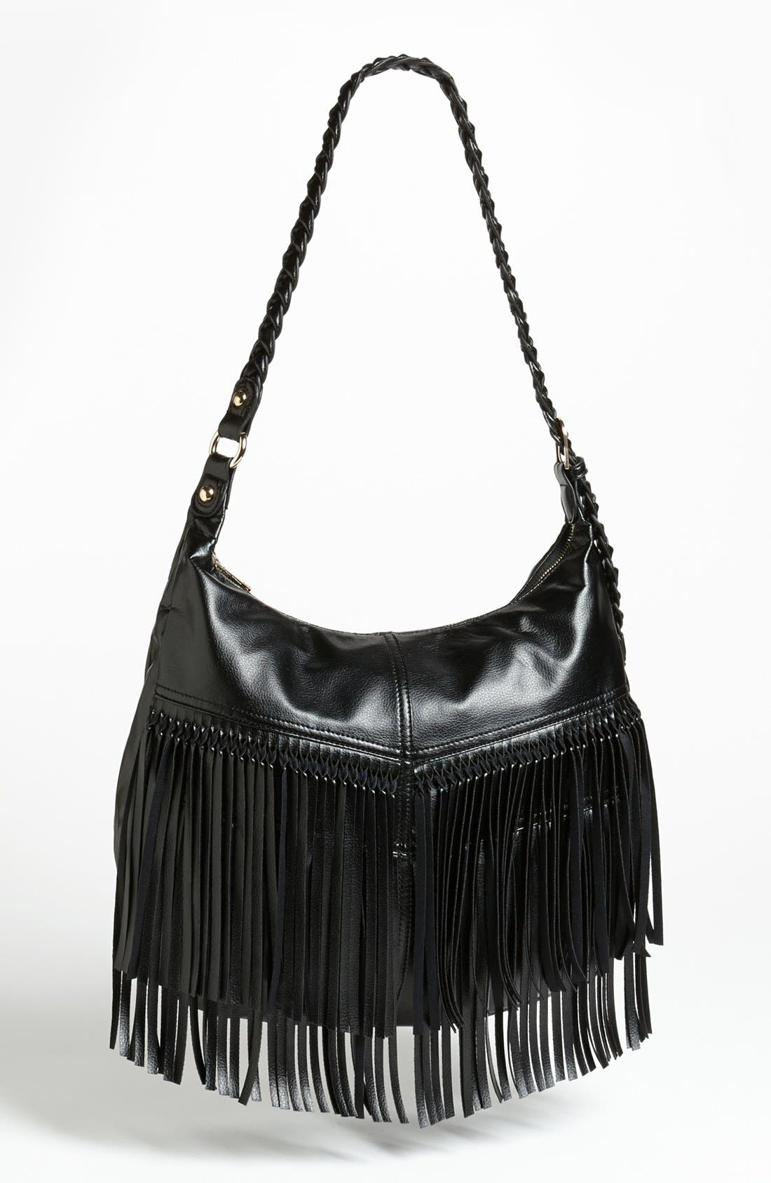 Alternate Image 1 Selected - OMG Fringe Faux Leather Tote (Juniors)