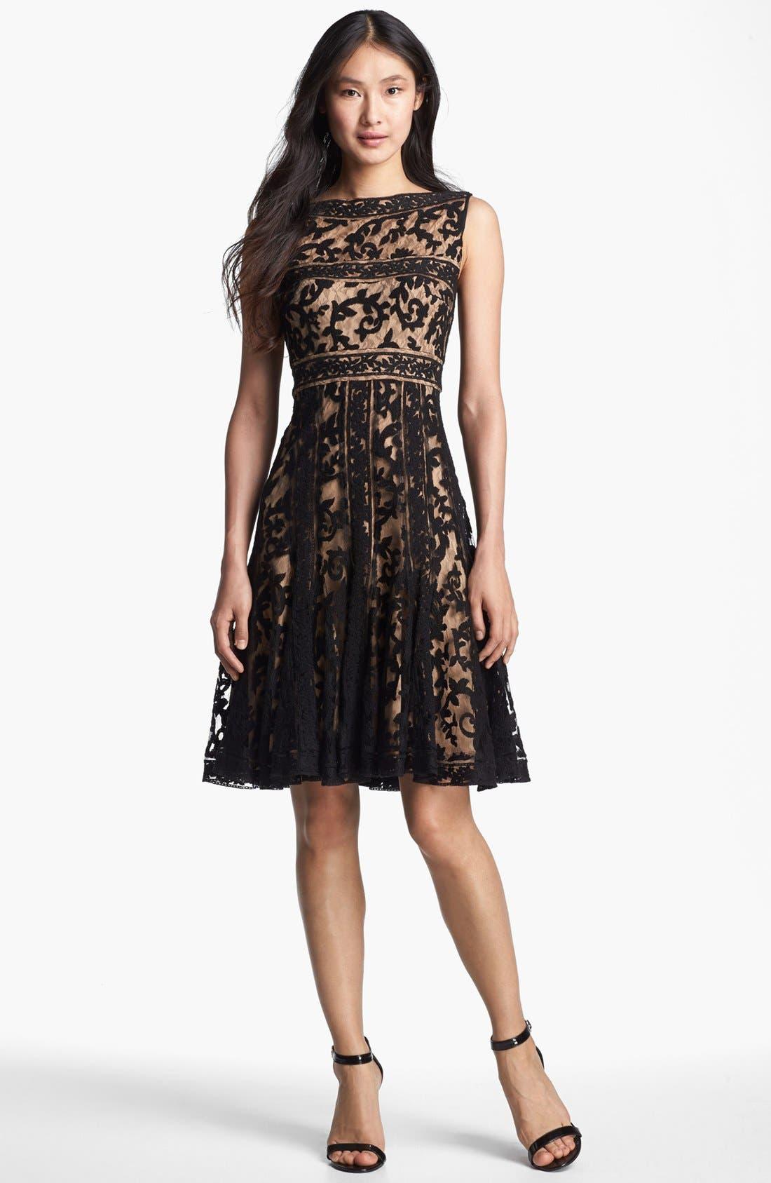 Alternate Image 1 Selected - Tadashi Shoji Embroidered Lace Fit & Flare Dress