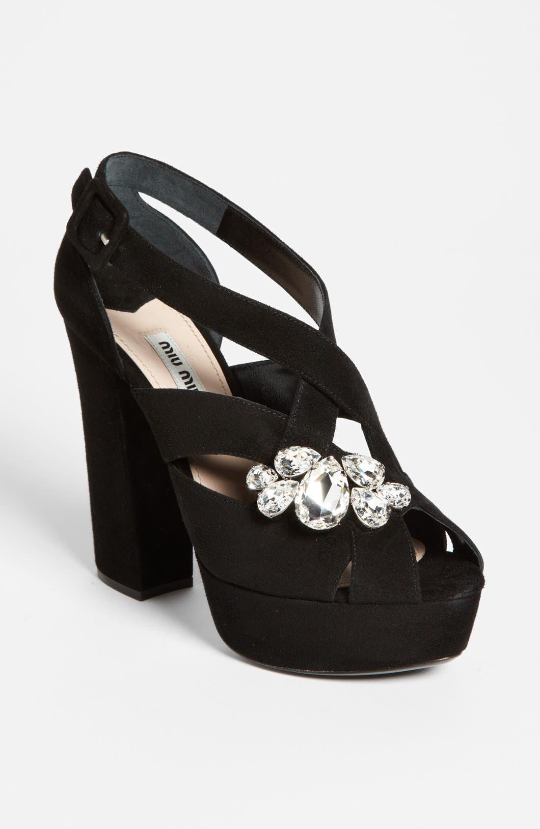 Main Image - Miu Miu Jewel Platform Sandal