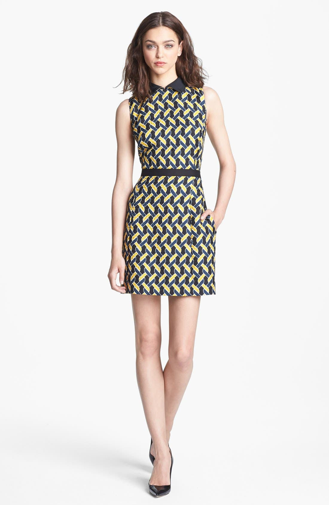 Main Image - Miss Wu Abstract Chain Jacquard Dress (Nordstrom Exclusive)